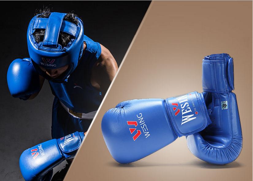 Боксерские перчатки  WESING кожа (синий)