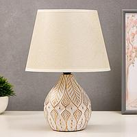 Лампа настольная 38047/1 E14 40Вт белый с золотой патиной 23х23х32 см, фото 1