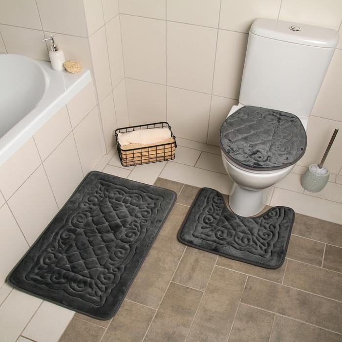 Набор ковриков для ванны и туалета «Узор», 3 шт: 38×43, 40×50, 50×80 см, цвет серый