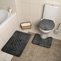 Набор ковриков для ванны и туалета «Узор», 3 шт: 38×43, 40×50, 50×80 см, цвет серый, фото 1