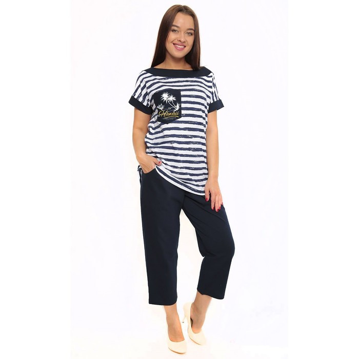 Комплект женский (футболка, бриджи) ТК-406 цвет синий, р-р 52