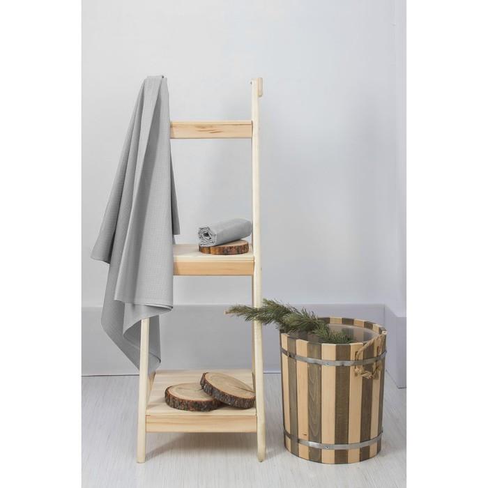 Простыня вафельная для бани «Экономь и Я», 150х180 см, цвет серый