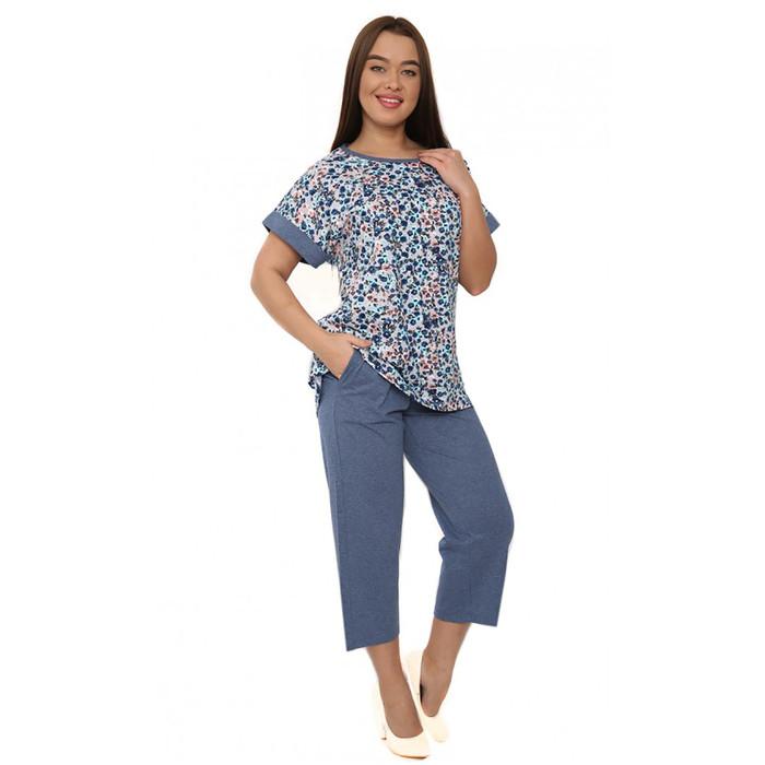 Комплект женский (футболка, бриджи) М167 цвет МИКС, р-р 52