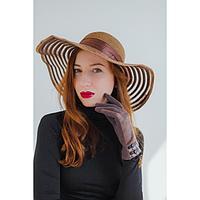 Перчатки женские безразмерные, без подклада, для сенсорных экранов, цвет кофе, фото 1