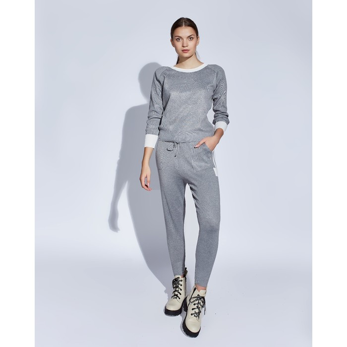 Костюм женский трикотажный MINAKU Jenna (свитшот, брюки), размер 48-50, цвет серый