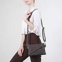 Сумка женская, 3 отдела на молнии, 2 наружных кармана, длинный ремень, цвет коричневый