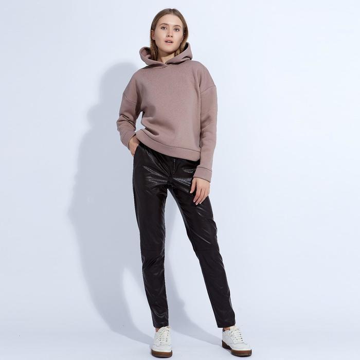 "Брюки женские MINAKU ""Leather look"", размер 48, цвет коричневый"