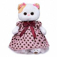 Мягкая игрушка Кошечка Ли-Ли в розовом платье в горох, 24 см