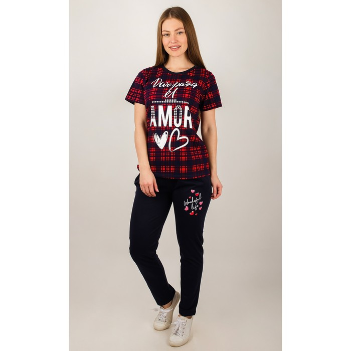 Комплект женский (футболка, брюки), цвет тёмно-синий/клетка, размер 52