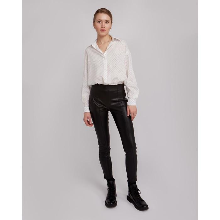 Брюки женские MINAKU: Leather look, цвет чёрный, размер 42