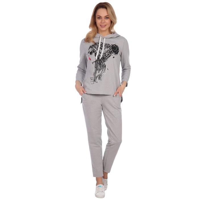 Костюм женский (худи, брюки), цвет светло-серый, размер 54