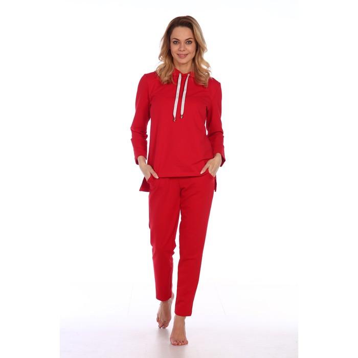 Костюм женский (худи, брюки), цвет красный, размер 52
