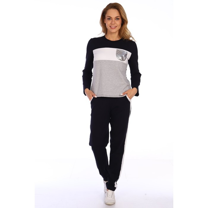 Костюм женский (джемпер, брюки), цвет серый, размер 50