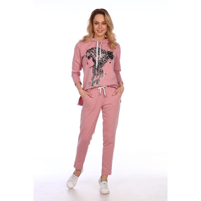 Костюм женский (худи, брюки), цвет пудровый, размер 48