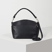Сумка женская, 3 отдела на молниях, наружный карман на молнии, съёмный, регулируемый ремень, цвет чёрный