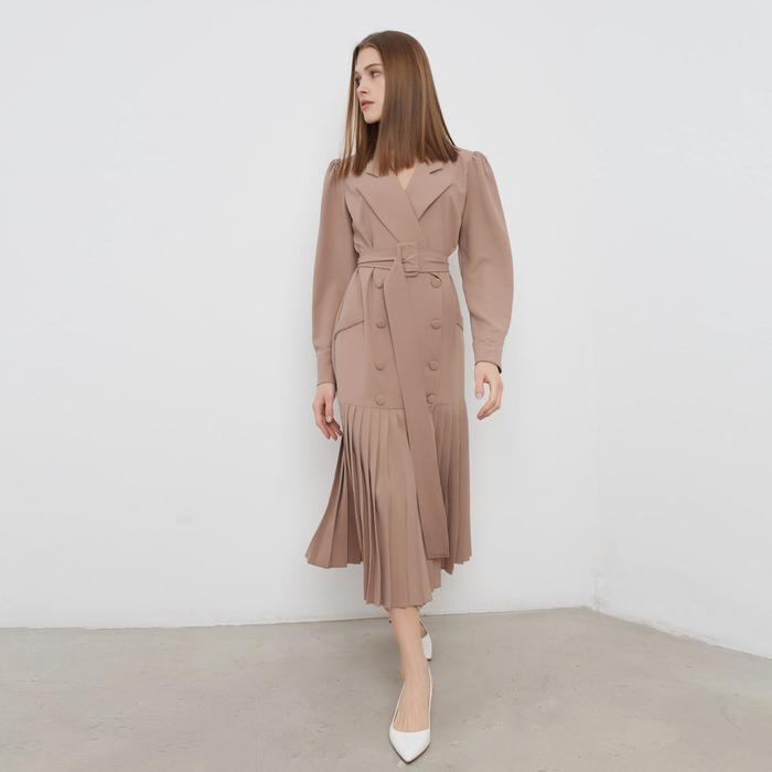 Платье женское MINAKU: Classic цвет бежевый, размер 44