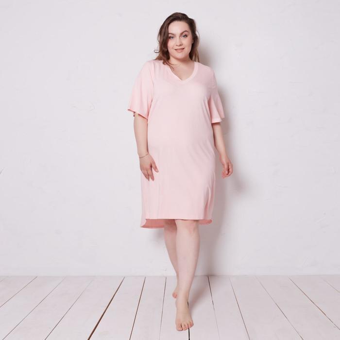 Сорочка (платье) женская с V-образным вырезом MINAKU: Mint & Chocolate цвет пудра, р-р 52