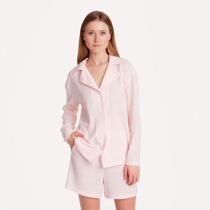 Блуза женская с воротником MINAKU: Enjoy цвет светло-розовый, р-р 48
