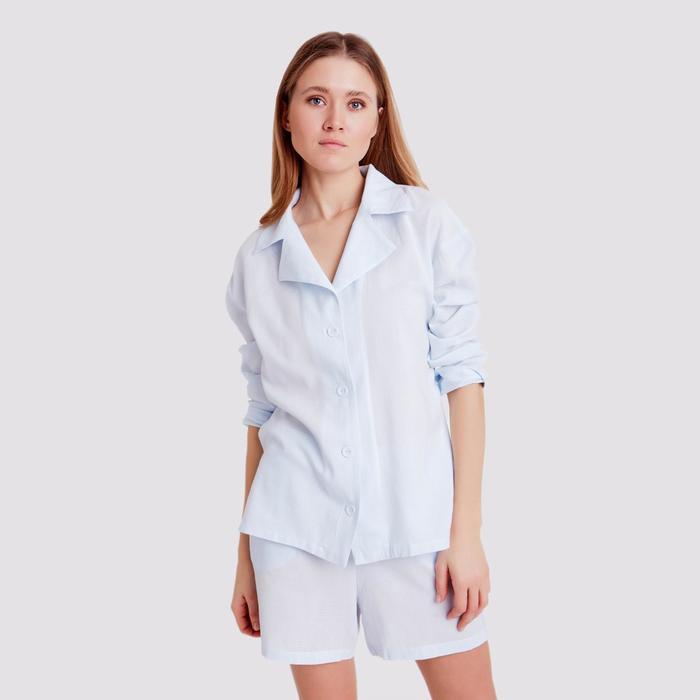Блуза женская с воротником MINAKU: Enjoy цвет светло-голубой, р-р 44