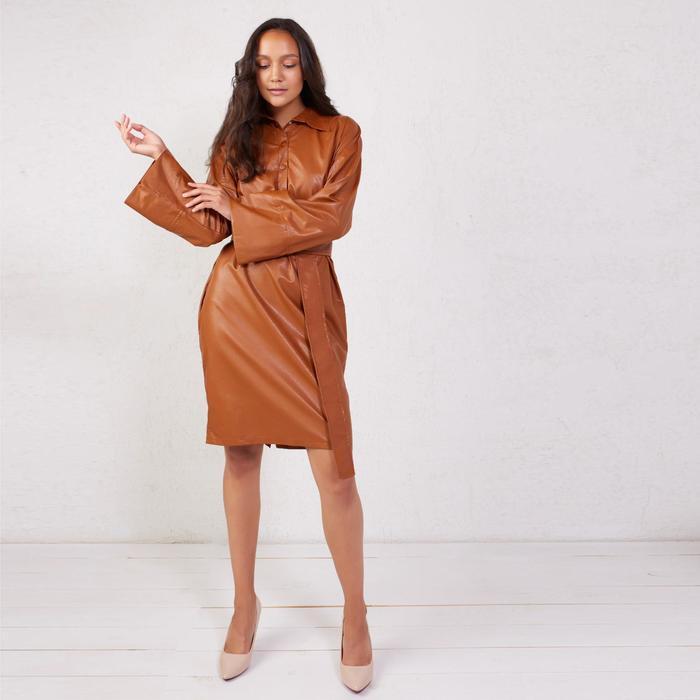 Платье женское MINAKU: Leather look цвет кирпичный, р-р 42