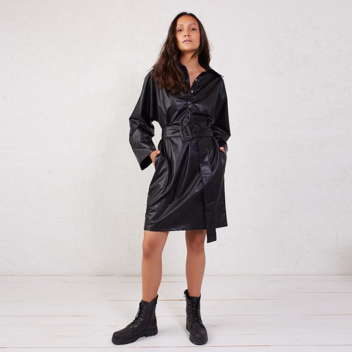 Платье женское MINAKU: Leather look цвет чёрный, р-р 50