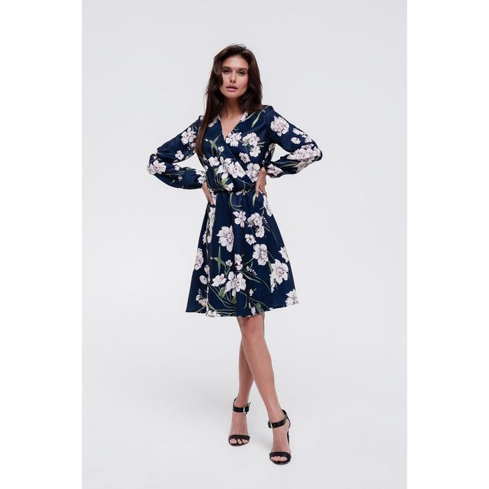 Платье женское MIST на запахе, р-р 44-46, синий
