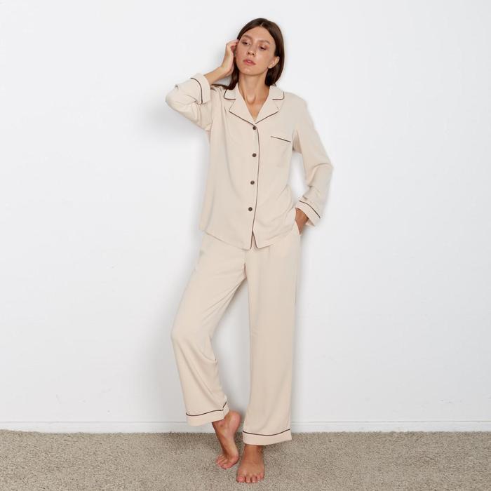 Пижама женская (сорочка, брюки) MINAKU: Light touch цвет бежевый, р-р 46