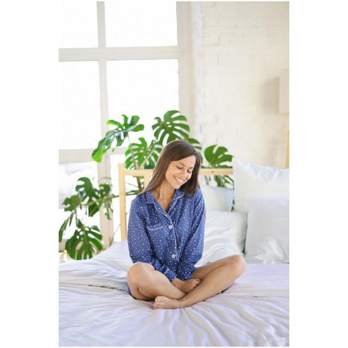 Пижама женская (сорочка, шорты), цвет синий, размер 44