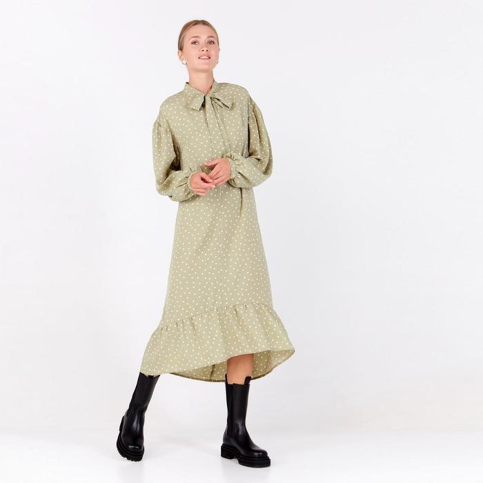 Платье женское в горох MINAKU: Green trend цвет зелёный, р-р 42