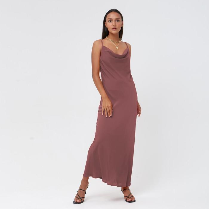 Платье женское MINAKU: Silk pleasure, цвет кофе , размер 48
