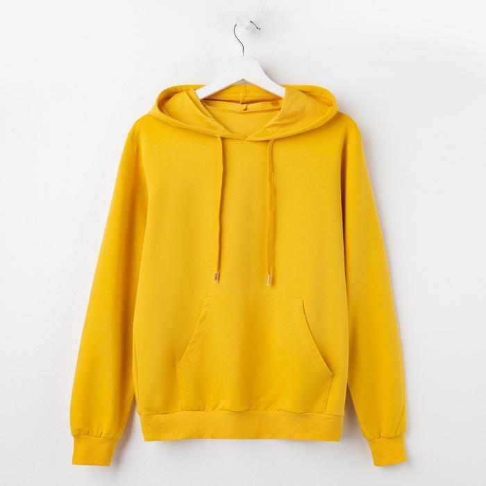 Толстовка женская с капюшоном однотонная 2014, цвет жёлтый, р-р One size