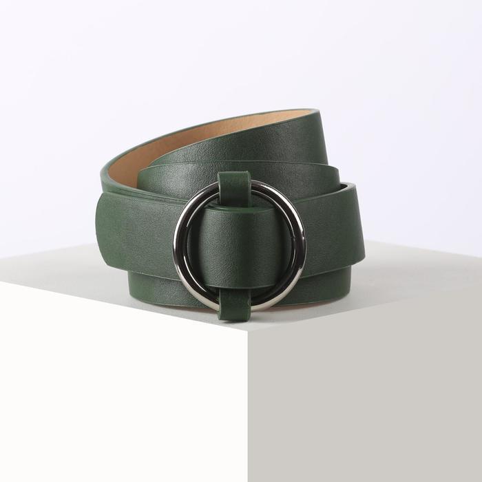 Ремень жен 05-01-02-07 Глафира, 2,8*0,2*110см, гладкий, пряжка металл, зеленый