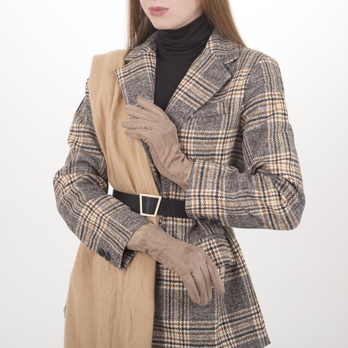 Перчатки жен, 23,5 см, безразмер, без утеплителя, манжет широкий иск кожа, бежевый