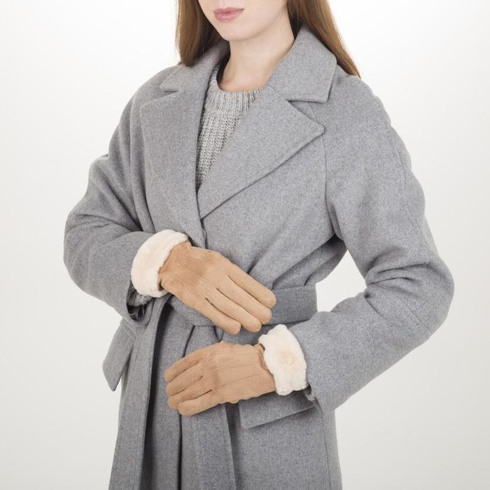 Перчатки жен, 23,5 см, безразмер, утепленные, манжет мех, коричневый
