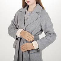 Перчатки жен, 23,5 см, безразмер, утепленные, манжет мех, коричневый, фото 1