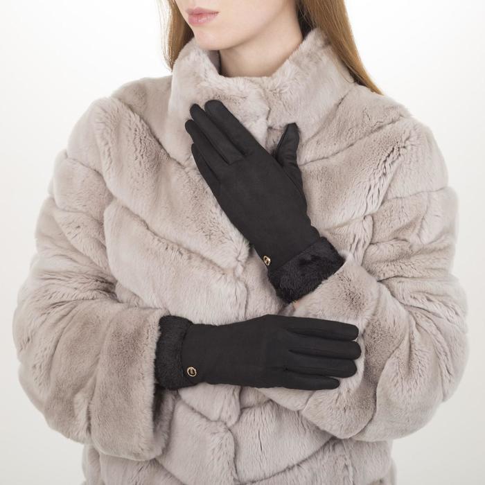 Перчатки жен, 23,5 см, безразмер, утепленные, манжет широкий мех, черный