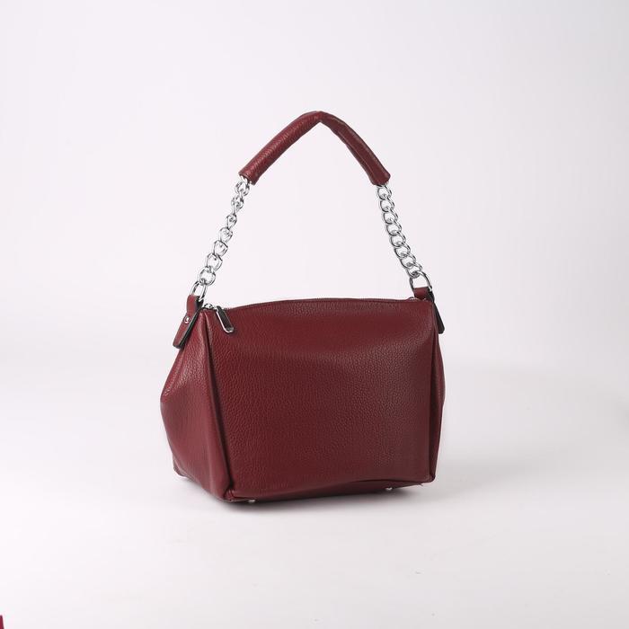 Сумка жен L-9085, 24*13*23, отд на молнии, н/карман, длин ремень, бордовый