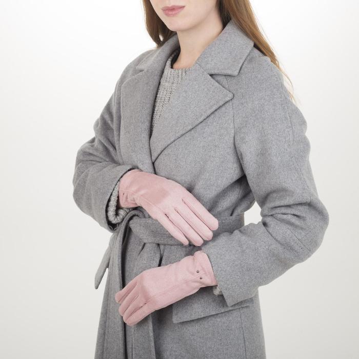Перчатки жен, 23,5 см, утеплитель иск мех, классика, розовый