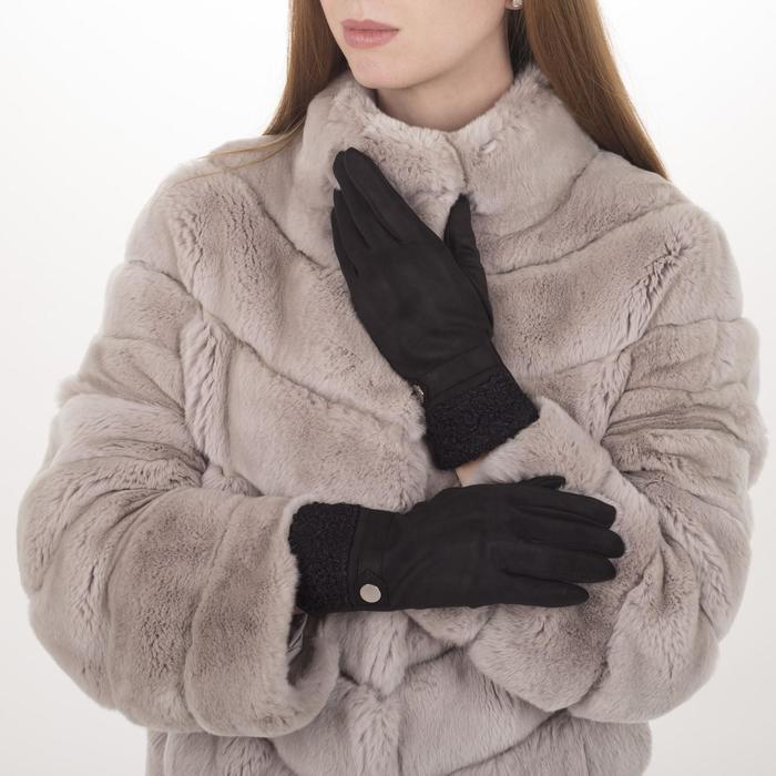 Перчатки жен, 23,5 см, безразмер, без утеплителя, манжет мех, черный