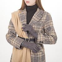Перчатки жен, 23,5 см, безразмер, без утеплителя, манжет широкий иск кожа, серый