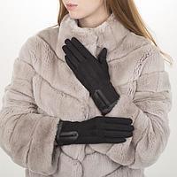 Перчатки жен, 23,5 см, безразмер, без утеплителя, манжет стразы, черный