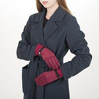 Перчатки жен, 23,5 см, безразмер, без утеплителя, манжет мех, красный