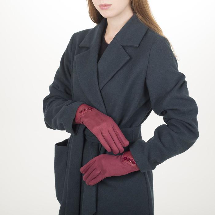 Перчатки жен, 23,5 см, утеплитель иск мех, манжет 4 пуговицы, красный
