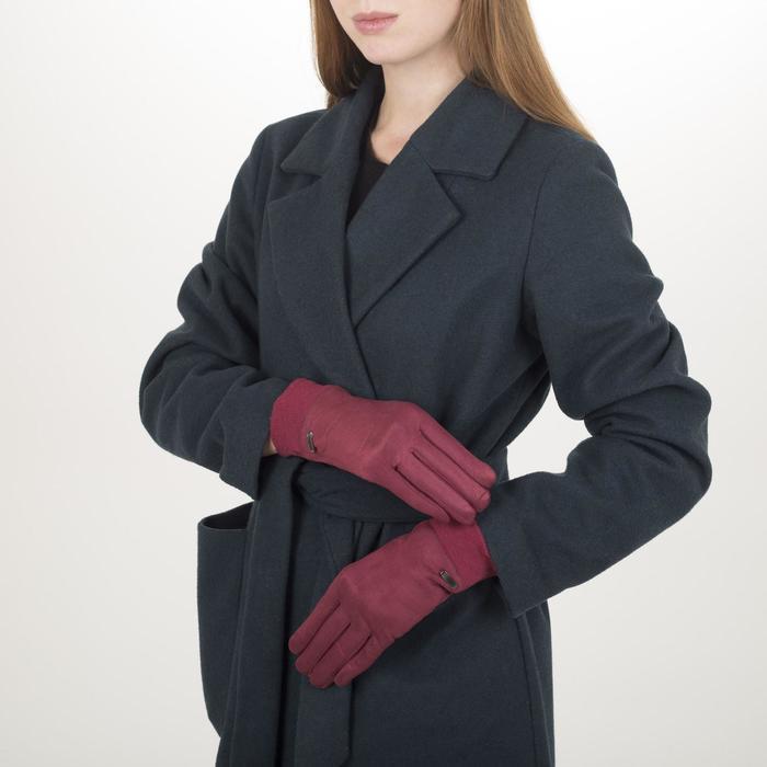 Перчатки жен, 23,5 см, утеплитель иск мех, классика, манжет резинка, красный