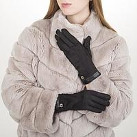 Перчатки жен, 23,5 см, утеплитель иск мех, манжет кожа, черный, фото 1