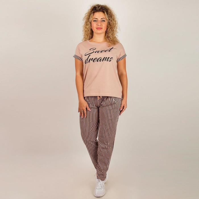 Комплект женский (футболка, брюки), цвет МИКС, размер 46