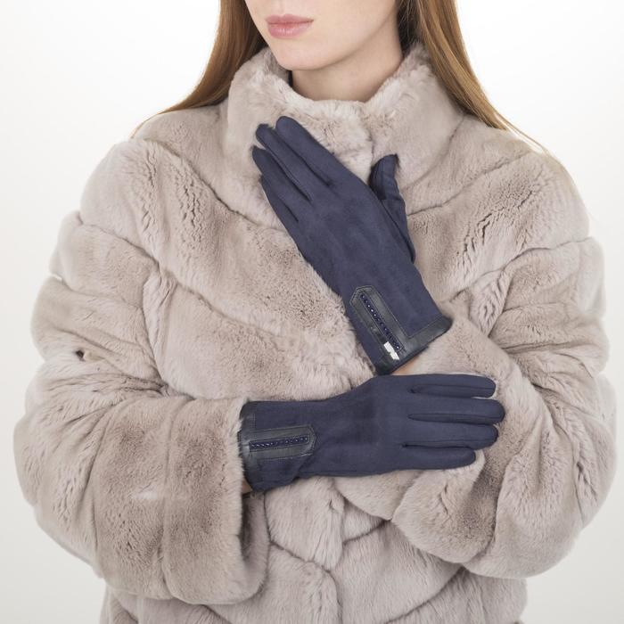 Перчатки жен, 23,5 см, безразмер, без утеплителя, манжет стразы, синий