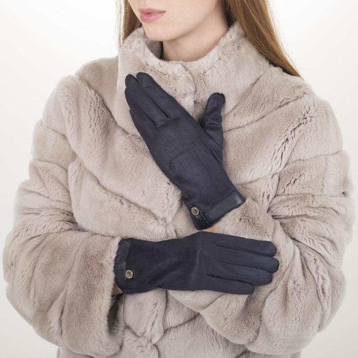 Перчатки жен, 23,5 см, утеплитель иск мех, манжет кожа, синий