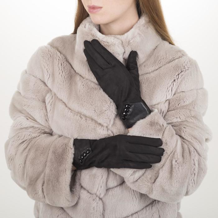 Перчатки жен, 23,5 см, утеплитель иск мех, манжет 4 пуговицы, черный