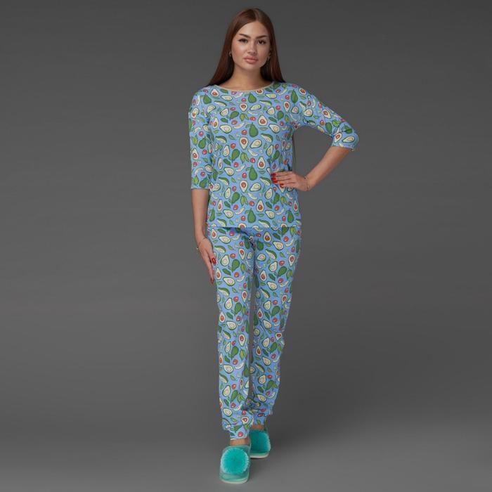 Пижама женская (футболка, брюки), цвет голубой, размер 42